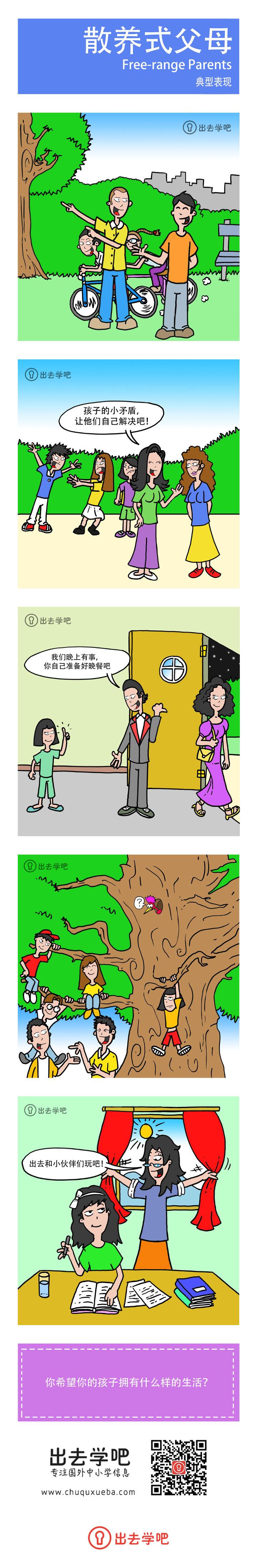 散养式父母 (Free-range Parents) 典型表现的漫画