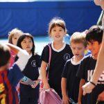 韩国国际学校板桥校区的学生们排队放学