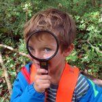 巴塞尔国际学校的小朋友拿着放大镜