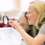 楚格和卢塞恩国际学校的学生用放大镜观察