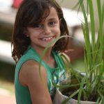 班珠尔美国国际学校的小女孩抱着一盆植物