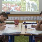 新加坡德国欧洲学校的学生在一起写作业