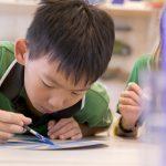 新加坡德国欧洲学校的学生认真的核对作业